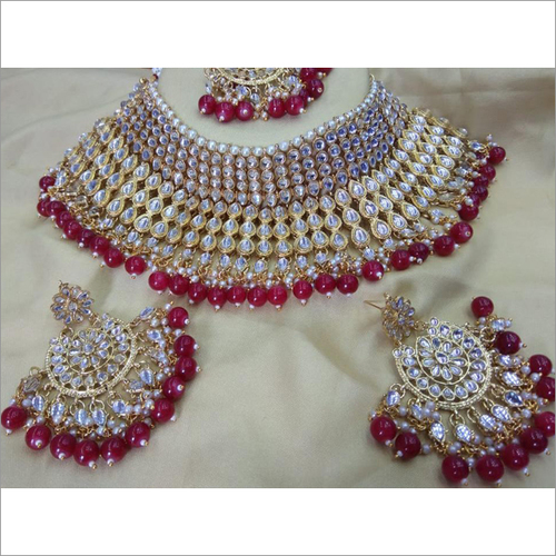 Kundan & Red Pearl Heavy Necklace Set Bridal Jewelry With Maang Tikka