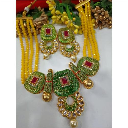 Kundan & Yellow Crystal Meenakari Necklace Set