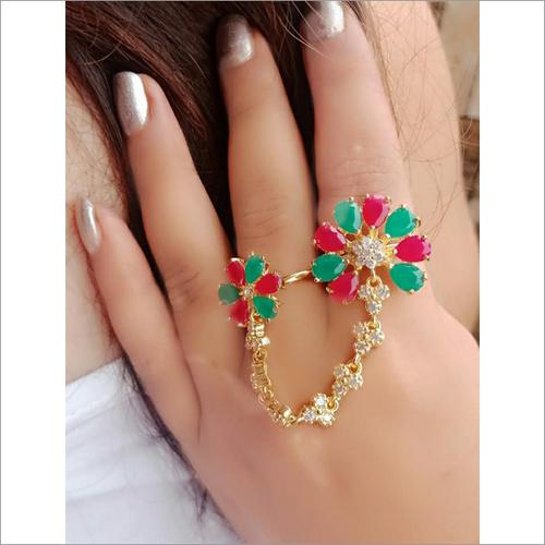 Red, Green Crystal & White Rhinestone Dual Finger Ring