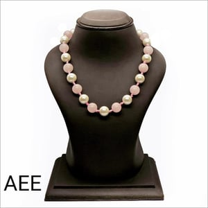 Rose Quartz Necklace With Fresh Water Pearl