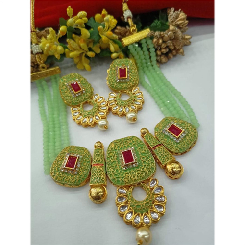 Sea Green Layered Pearl & Kundan Heavy Necklace Set