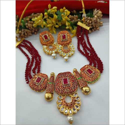 Traditional Kundan & Red Crystal Heavy Necklace Set