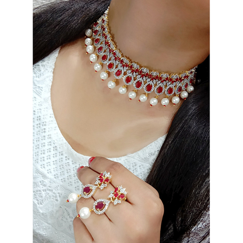 White & Red Rhinestone & Pearl Imitation Necklace Set