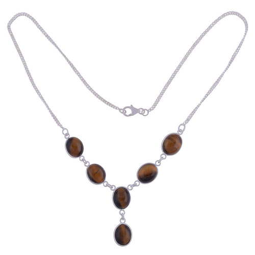 Tiger Eye Natural Gemstone 925 Sterling Solid Silver Oval Cabochon Stone Handmade Necklace