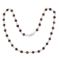 Tiger Eye Natural Gemstone 925 Sterling Solid Silver Round Cabochon Stone Handmade Necklace