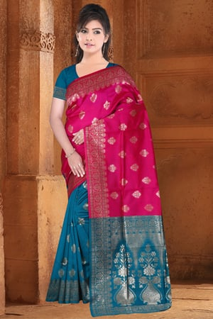 Two Tone Saree With 203 Blouse Piece