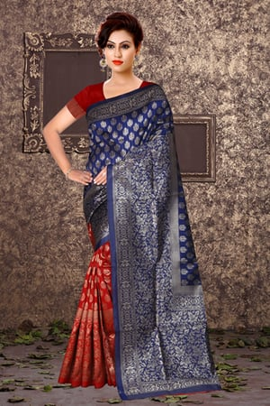 Two Tone Saree With 204 Blouse Piece