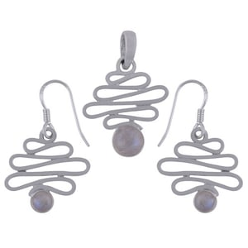 Rainbow Natural Gemstone Round 925 Sterling Solid Silver Handmade Earrings & Pendant Set