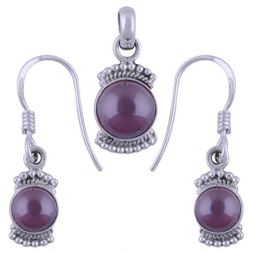 Garnet Natural Gemstone Round 925 Sterling Solid Silver Handmade Earrings & Pendant Set