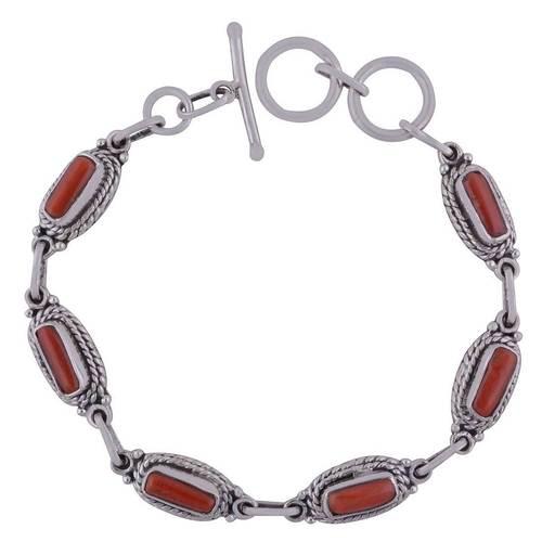 Coral Natural Gemstone 925 Sterling Solid Silver Rectangle Cabochon Handmade Bracelet