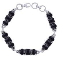 Amethyst/rainbow/garnet Natural Gemstone 925 Sterling Solid Silver Oval/square Cabochon Handmade Bracelet