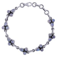Rainbow Natural Gemstone 925 Sterling Solid Silver Round/pear Cabochon Handmade Bracelet