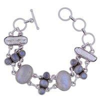 Rainbow Natural Gemstone 925 Sterling Solid Silver Round Cabochon Handmade Bracelet