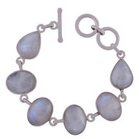 Rainbow Natural Gemstone 925 Sterling Solid Silver Oval/pear Cabochon Handmade Bracelet
