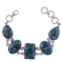 Rainbow Natural Gemstone 925 Sterling Solid Silver Irregular Cabochon Handmade Bracelet