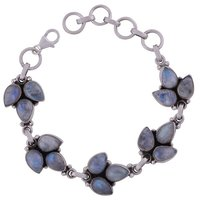 Rainbow Natural Gemstone 925 Sterling Solid Silver Drop Cabochon Handmade Bracelet