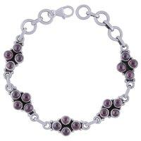 Garnet Natural Gemstone 925 Sterling Solid Silver Round Cabochon Handmade Bracelet