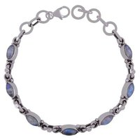 Rainbow Natural Gemstone 925 Sterling Solid Silver Marquise Cabochon Handmade Bracelet
