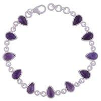 Amethyst Natural Gemstone 925 Sterling Solid Silver Pear Cabochon Handmade Bracelet
