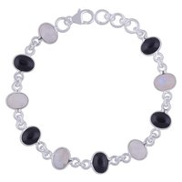 Rainbow/blackonyx Natural Gemstone 925 Sterling Solid Silver Oval Cabochon Handmade Bracelet