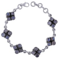 Rainbow Natural Gemstone 925 Sterling Solid Silver Round/square Cabochon Handmade Bracelet