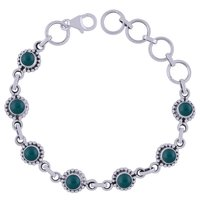 Amethyst Natural Gemstone 925 Sterling Solid Silver Round Cabochon Handmade Bracelet