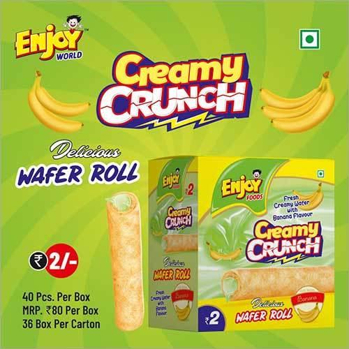 Banana Flavour Creamy Crunch Wafer Roll