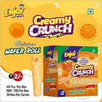 Orange Flavour Creamy Crunch Wafer Roll