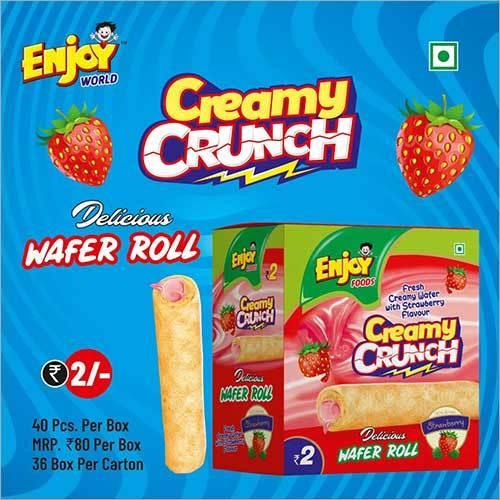 Strawberry Flavour Creamy Crunch Wafer Roll