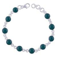 Labradorite Natural Gemstone 925 Sterling Solid Silver Round Cabochon Handmade Bracelet