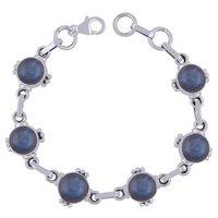 Black Onyx Natural Gemstone 925 Sterling Solid Silver Round Cabochon Handmade Bracelet