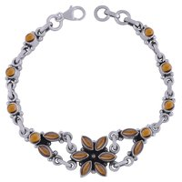 Rainbow Natural Gemstone 925 Sterling Solid Silver Round/marquise Cabochon Handmade Bracelet