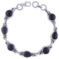 Black Onyx Natural Gemstone 925 Sterling Solid Silver Round/pear Cabochon Handmade Bracelet