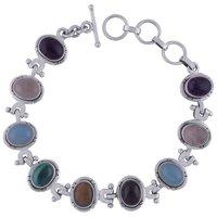 Multiple Natural Gemstone 925 Sterling Solid Silver Oval Cabochon Handmade Bracelet