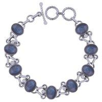 Labradorite Natural Gemstone 925 Sterling Solid Silver Oval Cabochon Handmade Bracelet