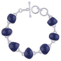 Lapis Natural Gemstone 925 Sterling Solid Silver Irregular Cabochon Handmade Bracelet