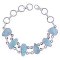 Larimar Natural Gemstone 925 Sterling Solid Silver Irregular Cabochon Handmade Bracelet