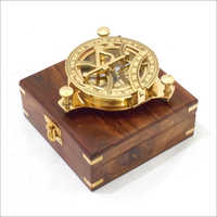 Captain antique nautical Brass Sundial Compass with Hardwood Wooden Box