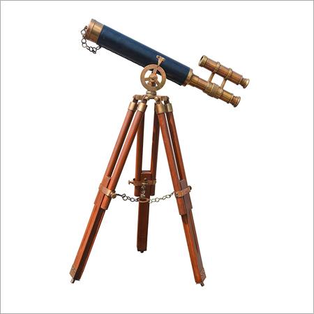 Admirals Floor Standing Brass With Leather Telescope