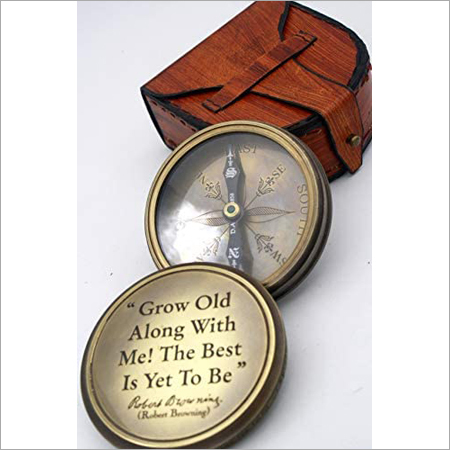 Antique Brass Flat Compass With Leather box