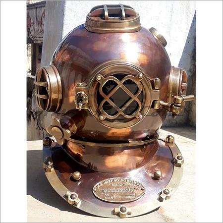 Nautical US Navy Mark V Solid Shiny Brass & Copper Divers Diving Helmet