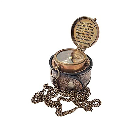 Antique Brass poem Compass With Leather box