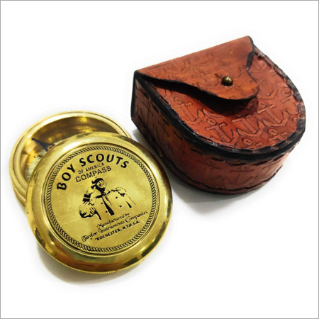 Brass Poem Compass With Leather Box
