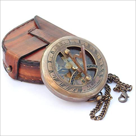 Nautical Sundial Compass With Leather Bag