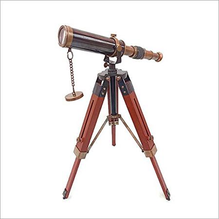 Nautical Brass Telescope Floor Standing Antique Brown Harbor Master Telescope on Tripod Wooden Stand