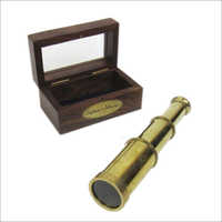 Captains Telescope Full Brass 6 Inch With Wood Glass Box Collectible Marine Nautical Gift