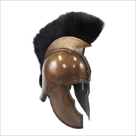 Dark Copper Antique Movie Troy Armor Helmet With Black Plume