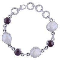 Garnet/mother Of Pearl Gemstone 925 Sterling Solid Silver Round Cabochon Handmade Bracelet