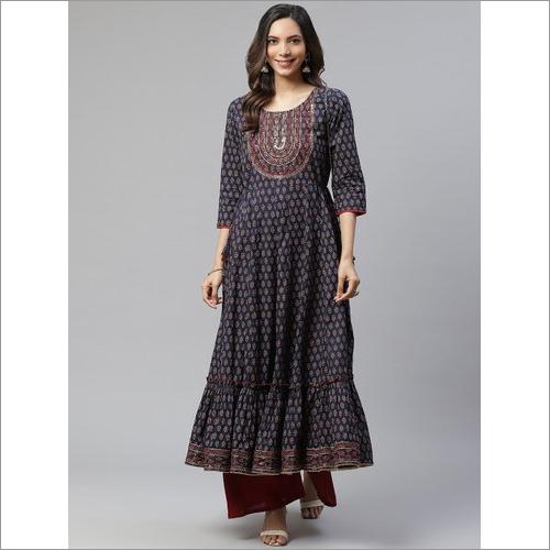 Ladies Divena Indigo Cotton Printed Tunic Kurti