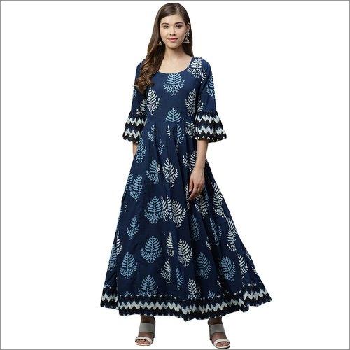 Ladies Blue Long Cotton Anarkali Kurti